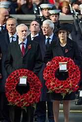 Labour leader Jeremy Corbyn, Prime Minister Theresa May and Former Prime Ministers Tony Blair and John Major, during the annual Remembrance Sunday Service at the Cenotaph memorial in Whitehall, central London, held in tribute for members of the armed forces who have died in major conflicts. Picture date: Sunday November 13th, 2016. Photo credit should read: Matt Crossick/ EMPICS Entertainment.