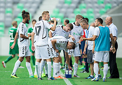 Danijel Dezmar of Krka and other players drinking during football match between NK Olimpija and NK Krka in Round 1 of Prva liga Telekom Slovenije 2014/15, on July 19, 2014 in SRC Stozice, Ljubljana, Slovenia. Photo by Vid Ponikvar / Sportida.com