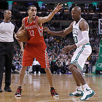 06 March 2012: Boston Celtics shooting guard Ray Allen (20) defends on Houston Rockets shooting guard Kevin Martin (12) during the Boston Celtics 97-92 (OT) victory over the Houston Rockets at the TD Garden, Boston, Massachusetts, USA.