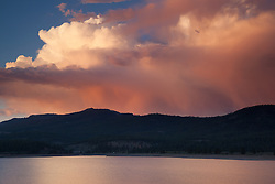 """Sunset at Boca Reservoir 2"" - This colorful cloud was photographed during sunset at Boca Reservoir near Truckee, California."