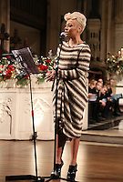 Emeli Sandé performs at the Nordoff-Robbins Carol Service 2012, St Luke's Church, Chelsea, London. Tuesday, Dec 18, 2012 (Photo/John Marshall JME)