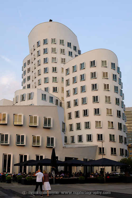 One of the buildings in Neuer Zollhoff, a three-part complex designed by architect Frank Gehry in MedienHafen (Media Harbour), an up-market harbour redevelopment in Düsseldorf, Germany.