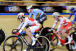 March 2, 2018 - Apeldoorn, NETHERLANDS - Belgian Lotte Kopecky (C rear) pictured in action during the Tempo race part of the omnium women event at the 2018 world championships track cycling in Apeldoorn, the Netherlands, Friday 02 March 2018. The track cycling worlds take place from 28 February to 04 March. BELGA PHOTO YORICK JANSENS (Credit Image: © Yorick Jansens/Belga via ZUMA Press)