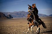 Kazakh Hunter with Golden Eagle<br />Aquila chrysaetos<br />Western Mongolia
