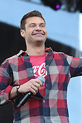 American Idol host Ryan Seacrest seen on stage at the Big Dance Concert Series during Final Four weekend in Indianapolis, Indiana.