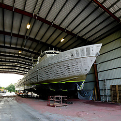 A oil supply vessel being built at Breaux Brothers Enterprises Inc in Loreauville, Louisiana, U.S., on Friday, August 19, 2016.  Photographer: Derick E. Hingle/Bloomberg