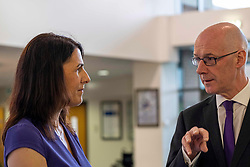 Pictured: John Swinney was met by Deputy Principal Joan Daly<br /><br />The Deputy First Minister visited Holy Rood High School in Edinburgh today to meet parents and pupils before announcing GBP50 million funding for improving attainment.  The results of a survey of headteachers were also published during the Deputy First Minister's visit.<br /><br /> Ger Harley | EEm 30 May 2019