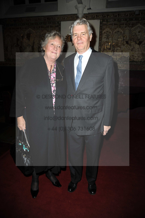Actor JAMES FOX and his wife MARY at a Christmas Carol service in aid of Breast Cancer Haven held at St.Paul's Knighsbridge, Wilton Place, London on 8th December 2009.