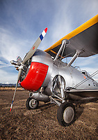 Grumman F3F vintage airplane parked in the grass under a blue sky in Sonoma, CA. (Property Released)