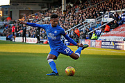 Peterborough United defender Tyler Denton (23) gets in a cross during the EFL Sky Bet League 1 match between Peterborough United and Bradford City at The Abax Stadium, Peterborough, England on 17 November 2018.