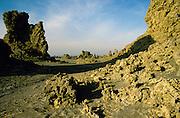 Djibouti. Lake Abbe or Lake Abhe Bad. Limestone chimneys in a moon like landscape.