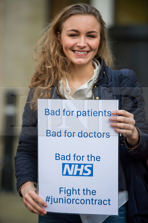 © Licensed to London News Pictures. 11/02/2016. London, UK. Junior Doctors and supporters protest outside the Department of Health in Westminster London following Jeremy Hunt's announcement to Parliament that he will force through a new junior doctors contract against their will. Photo credit: Ben Cawthra/LNP