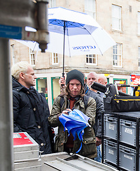 Jonny Lee Miller, Sick Boy arriving at The Central Bar, in Leith, Edinburgh, to film scenes for the second Trainspotting film, on Monday 16/5/2016.