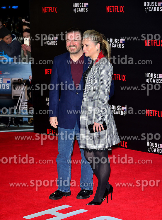 Ricky Gervais and Jane Fallon at the House Of Cards - UK TV premiere at The Empire Leicester Square in London. 26th February 2015. EXPA Pictures &copy; 2015, PhotoCredit: EXPA/ Photoshot/ Brian Jordan<br /> <br /> *****ATTENTION - for AUT, SLO, CRO, SRB, BIH, MAZ only*****