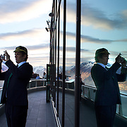 """Irish player Donncha O""""Callaghan takes pictures of the view after the Irish teams Civic reception and cap presentation and Civic welcome at Skyline.  Queenstown, New Zealand, 4th September 2011. Photo Tim Clayton.."""