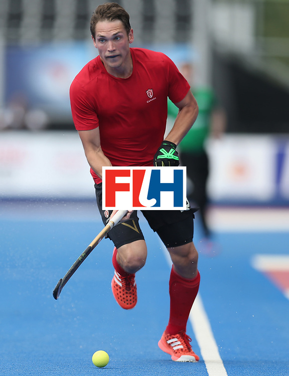 LONDON, ENGLAND - JUNE 17: John Smythe of Canada  during the Hero Hockey World League semi final match between Canada and India at Lee Valley Hockey and Tennis Centre on June 17, 2017 in London, England.  (Photo by Alex Morton/Getty Images)