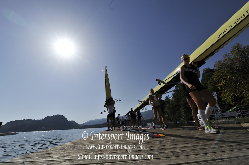 Bled, SLOVENIA.  Crews returning after morning training, Boathouse, Athletes area. 2011 FISA World Rowing Championships, Lake Bled. Local Time 10:08:58   Thursday  25/08/2011  [Mandatory Credit;  Intersport Images]  Original Camera File No.   2011010248.jpg Silhouettes