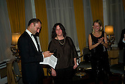 Dr. Luigi  Maramotti, Hannah Rickards and  Iwona Blazwick , Dinner at the Italian Embassy in which the winner of the MaxMara Art Prize ( in collaboration with the Whitechapel art gallery )for Women is announced. Grosvenor Sq. London. 29 January 2008.  -DO NOT ARCHIVE-© Copyright Photograph by Dafydd Jones. 248 Clapham Rd. London SW9 0PZ. Tel 0207 820 0771. www.dafjones.com.