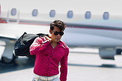 man leaving a small airport