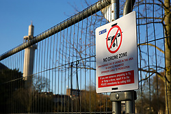 © Licensed to London News Pictures. 02/12/2019. London, UK. A 'NO DRONE ZONE' sign on the  security fence around Winfield House which is an official residence of the United States Ambassador in Regents Park where President of the United States, DONALD TRUMP will stay during NATO (The North Atlantic Treaty Organisation) summit in London. Photo credit: Dinendra Haria/LNP