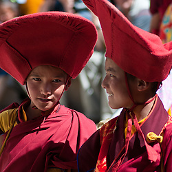 Young monks perform dance and theater in the annual festival at the Phyang Gompa.