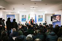 MONTECORICE, ITALY - 14 FEBRUARY 2018: Franco Alfieri (Democratic Party, PD, Partito Democratico), a candidate running for the Chamber of Deptuies in the 2018 Italian General Elections, rallies in the Council Chamber in Montecorice, Italy, on February 14th 2018.<br /> <br /> Montecorice is part of the electoral college of Agropoli, in the Campania region (southern Italy) in which Franco Alfieri (Democratic Party, PD, Partito Democratico), politically active for the past 30 years, is running agains the 28-years old Alessia d'Alessandro (Five Stars Movement, M5S, Movimento 5 Stelle).<br /> <br /> The 2018 Italian general election is due to be held on 4 March 2018 after the Italian Parliament was dissolved by President Sergio Mattarella on 28 December 2017.<br /> Voters will elect the 630 members of the Chamber of Deputies and the 315 elective members of the Senate of the Republic for the 18th legislature of the Republic of Italy, since 1948.Santa<br /> <br /> The 2018 Italian general election is due to be held on 4 March 2018 after the Italian Parliament was dissolved by President Sergio Mattarella on 28 December 2017.<br /> Voters will elect the 630 members of the Chamber of Deputies and the 315 elective members of the Senate of the Republic for the 18th legislature of the Republic of Italy, since 1948.