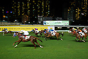 Horse race at the Hong Kong Jockey Club Happy Valley racecourse.
