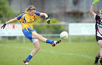 Clare's Captain Chloe Moloney scores again for the banner county despite efforts from Sligo's  Aimee Oates in the All ireland U14 C championship final in Kilkerrin-Galway Photo: Andrew Downes..