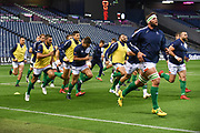 Benetton players warm up for the Guinness Pro 14 2018_19 match between Edinburgh Rugby and Benetton Treviso at Murrayfield Stadium, Edinburgh, Scotland on 28 September 2018.