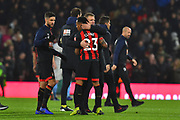 AFC Bournemouth manager Eddie Howe hugs Nathaniel Clyne (23) of AFC Bournemouth at full time after a 2-0 win over West Ham United during the Premier League match between Bournemouth and West Ham United at the Vitality Stadium, Bournemouth, England on 19 January 2019.