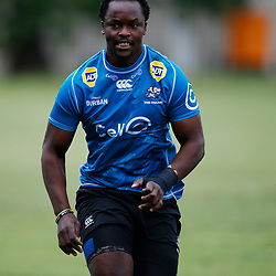 Tera Mtembu of the Cell C Sharks during The Cell C Sharks training session at Jonsson Kings Park Stadium in Durban, South Africa. 21 May 2019 (Mandatory Byline Steve Haag)