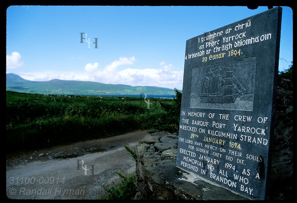 Sign commemorates sailors lost in Brandon Bay shipwreck in 1894; Dingle Peninsula. Ireland
