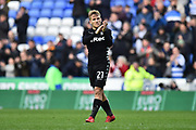 Samuel Saiz (21) of Leeds United applauds, claps the Leeds fans at full time after a 2-2 draw during the EFL Sky Bet Championship match between Reading and Leeds United at the Madejski Stadium, Reading, England on 10 March 2018. Picture by Graham Hunt.