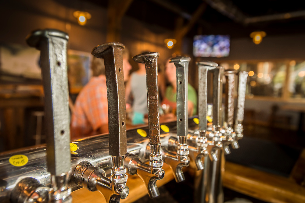 Tap handles made from railroad spikes at Ore Dock Brewing Company, Marquette, Michigan.