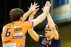 Diko Puric of ACH Volley and Jani Kovacic of ACH Volley celebrate during 3rd Leg volleyball match between ACH Volley and OK Calcit Volley in Final of 1. DOL Slovenian National Championship 2017/18, on April 24, 2018 in Hala Tivoli, Ljubljana, Slovenia. Photo by Matic Klansek Velej / Sportida