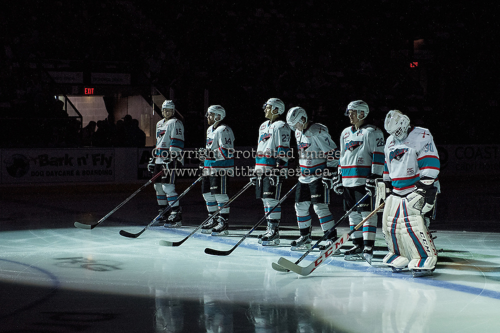 KELOWNA, CANADA - APRIL 22: The Kelowna Rockets line up against the Seattle Thunderbirds on April 22, 2016 at Prospera Place in Kelowna, British Columbia, Canada.  (Photo by Marissa Baecker/Shoot the Breeze)  *** Local Caption *** Line up;