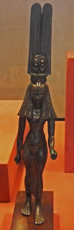 Statue of a goddess of Ancient Egypt; either Isis or Hathor.