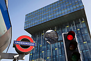 The London Underground (subway) logo at Southwark Station and the headquarters for Transport for London (TFL) in Palestra House, 197 Blackfriars Road, London, SE1, on 6th September, in London, England.