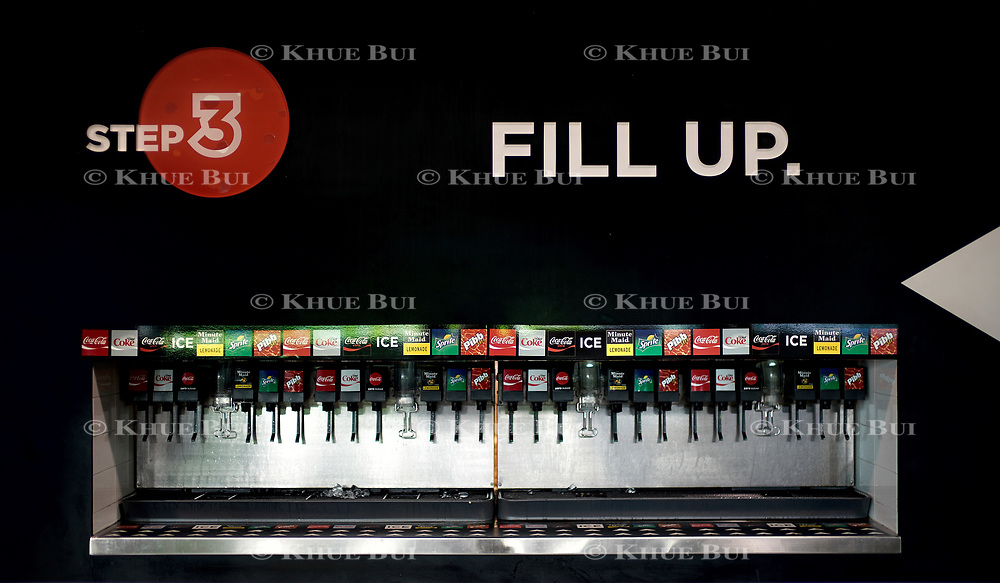 Self Serve soda fountain inside Minute Maid Park July 12, 2018, in Houston, TX.<br /> <br /> Photo by Khue Bui
