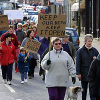 Aberfeldy depot protest...16.3.2001.<br />The protest group lead by a piper makes its way through Aberfeldy Town Centre.<br /><br />Picture by John Lindsay.<br />COPYRIGHT: Perthshire Picture Agency<br />Tel: 01738 623350  Mob: 07775 852112