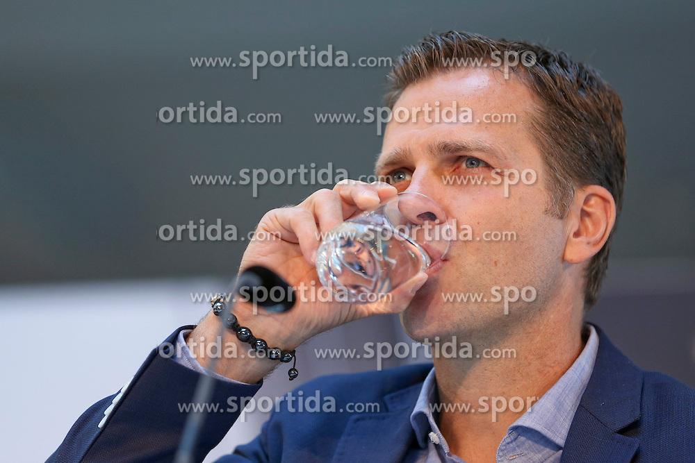 08.06.2015, Mercedes Benz Zenter, Koeln, GER, Nationalmannschaft, Pressekonferenz, im Bild Sportlicher Leiter Oliver Bierhoff trinkt ein Glas Wasser // during a press conference of the german national football team at the Mercedes Benz Zenter in Koeln, Germany on 2015/06/08. EXPA Pictures &copy; 2015, PhotoCredit: EXPA/ Eibner-Pressefoto/ Sch&uuml;ler<br /> <br /> *****ATTENTION - OUT of GER*****