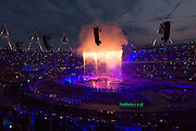 Overview of the London Olympic stadium with the Olympic rings in the middle. Image was taken at the technical rehearsal of the openings ceremony of the Olympic Games in London.
