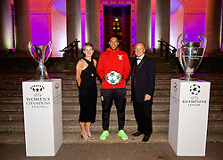 CARDIFF, WALES - Wednesday, August 31, 2016: Laura McAllister, Wales' captain Ashley Williams and FAW Chief-Executive Jonathan Ford with the European Cup trophies during a gala dinner at the Cardiff Museum to launch the UEFA Champions League Finals 2017 to be held in Cardiff. (Pic by David Rawcliffe/Propaganda)