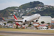 "QANTAS Boeing 737-838 VH-ZQA ""Jean Batten"" taking off from Wellington International Airport, Wellington, New Zealand."