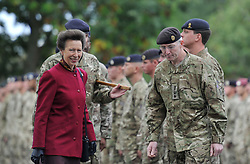 © Licensed to London News Pictures. 4 October 2013. Didcot Oxfordshire. Awarding a medal to the CO Lt Col Adam McRae. Princess Anne awarded campaign medals to 11 EOD Bomb Disposal regiment today in Didcot Oxfordshire. Photo credit : MarkHemsworth/LNP