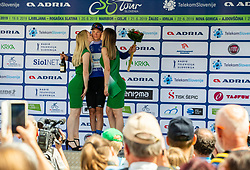Aleksandr Vlasov (RUS) of Gazprom - Rusvelo  celebrates in blue jersey as best in mountain classification at Trophy ceremony after the 3rd Stage of 26th Tour of Slovenia 2019 cycling race between Zalec and Idrija (169,8 km), on June 21, 2019 in Slovenia. Photo by Vid Ponikvar / Sportida