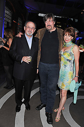 Left to right, SIR SALMAN RUSHDIE, STEPHEN FRY and KATHY LETTE at a party to celebrate the publication of Joseph Anton by Sir Salman Rushdie held at The Collection, 264 Brompton Road, London SW3 on 14th September 2012.