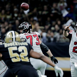 Dec 24, 2017; New Orleans, LA, USA; Atlanta Falcons quarterback Matt Ryan (2) throws against the New Orleans Saints during the third quarter at the Mercedes-Benz Superdome. The Saints defeated the Falcons 23-13. Mandatory Credit: Derick E. Hingle-USA TODAY Sports