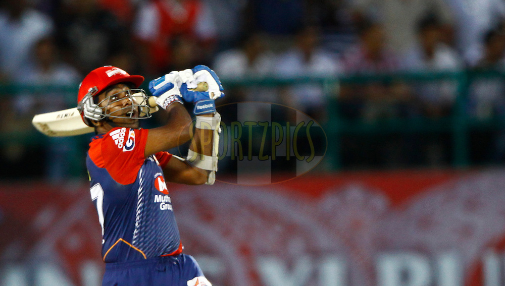 Delhi Daredevils player Mahela Jayawardene play a shot during match 69 of the the Indian Premier League ( IPL) 2012  between The Kings X1 Punjab and The Delhi Daredevils held at the HPCA Stadium, Dharamsala, on the 19th May 2012..Photo by Pankaj Nangia/IPL/SPORTZPICS
