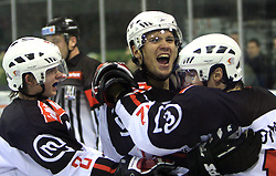 Ziga Jeglic, David Rodman and his brother Marcel celebrate at 39th Round of EBEL League ice hockey match between HDD Tilia Olimpija and Acroni Jesenice, on December 30, 2008, in Arena Tivoli, Ljubljana, Slovenia. Tilia Olimpija won 4:3.(Photo by Vid Ponikvar / SportIda).
